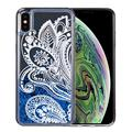 3D Winter Sparkle Glitter Waterfall Phone Case (Blue Lace) for Apple iPhone XS Max - Interactive Water Liquid Cascade Floating Snow Globe Dynamic Transparent Smartphone Cover - Trippy Floral Design