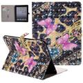 iPad 4 Case, iPad 3 Case, iPad 2 Case, Allytech 3D Pattern PU Leather Protective Smart Case with Auto Sleep Wake Folio Kickstand Cards Slots Wallet Case Cover for Apple iPad 2 3 4, Pink Butterfly