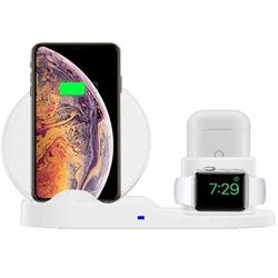Wireless Charger 3 in 1 Wireless Charging Dock Compatible with Apple Watch and Airpods Charging Station Qi Fast Wireless Charging Stand Compatible iPhone X XS XR Xs Max 8 8 Plus