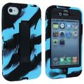Sky Blue and Black Camo Hybrid 3 Piece Case Cover with Stand for iPhone 4 / 4S