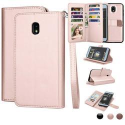 "Njjex For 5.5"" Samsung Galaxy J7 2018 / J7 Refine / J7 Aero / J7 Eon / J7 Top / J7 Crown / J7 Aura Wallet Cases, Pu Leather Magnet Stand Credit Card Holder Flip & Wrist Strap Wallet Cases Cover"