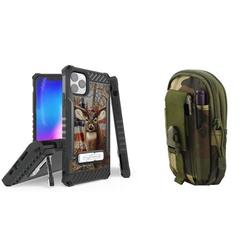 BC Tri Shield Series Military Grade (MIL-STD 810G-516.6) Impact Resistant Stand Case (USA Deer Camo) with Tactical Travel Pouch (Jungle Camo) and Atom Cloth Compatible with iPhone 11 Pro Max