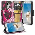 LG Risio 3 Case,LG Rebel 3 LTE Case (L157BL), LG Fortune 2 Case, LG Zone 4 Case, LG K8 2018 Case, Cute Wrist Strap Flip Folio [Kickstand] Pu Leather Case with ID Slot Girls Women - Hot Pink Heart