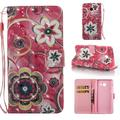 Galaxy J7 2017 Case, J7 Sky Pro Case, J7 Perx Case, Allytech 3D Diamond Bling PU Leather Wallet Stand Cover & Credit Card Slots Pocket for Samsung Galaxy J7 2017 (Pink Flower)