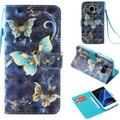 """Galaxy S7 Case, Galaxy S7 Kids Case, Allytech [3D Painted] PU Leather Magnetic Folio Cover & Credit Card Slots Pocket, Support Kickstand Slim Case for Samsung Galaxy S7 (5.1"""") (Blue Butterfly)"""
