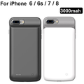 iPhone Battery Case, Exgreem 3000mAh Ultra Thin Rechargeable Portable Power Charging Case for iPhone Extended Battery Pack Power Bank Charger Case (Black)