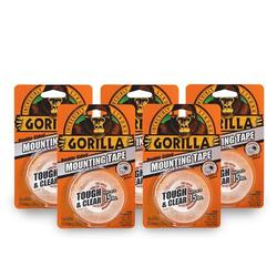 """Gorilla 6065001-5 Tough & Clear Mounting Tape, Double-Sided, 1"""" x 60"""", Clear, (Pack of 5), 5-Pack, 5 Piece"""