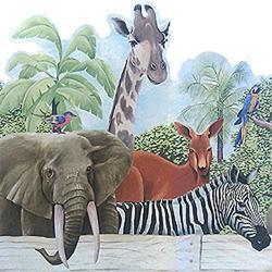 Blue Mountain Wallcoverings 12440117 Jungle Animals Prepasted Wall Paper Wide Border Accent