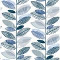 Brewster Nyssa Blue Leaves Wallpaper