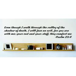 Wall Design Pieces Even Though I Walk Through The Valley Of The Shadow Of Death, I Will Fear No Evil Psalm 234 Bible Quote 15x15