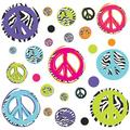 RMK1860SCS Zebra Peace Signs Peel and Stick Wall Decals, Comes with 26 wall decals ranging in size from 1.6-Inch wide x 1.6-Inch high to 9-Inch.., By RoomMates