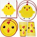 """Chicken Farm Animal Barn Party Supplies Set 24 9"""" Plates 24 7"""" Plate 24 9 Oz Cup 50 Lunch Napkin for Yellow Chickens Barnyard Cowboy Cowgirl Farmhouse Birthday Baby Shower Disposable Tableware Decor"""