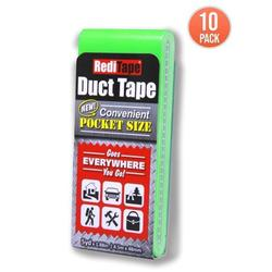 RediTape Pocket Duct Tape 10-Pack 1.88 inches x 5 yards per Flat Pack (10-Pack, Fluorescent Green)