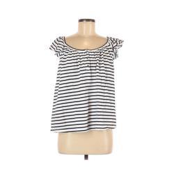 Old Navy Short Sleeve Henley Shirt: White Print Tops - Size Medium