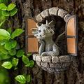LUFISH Lovely Courtyard Dragon Sculpture Resin,Decorative Outdoor Dragon Garden Statue,Window Shape Garden Dragon Statue,Wall Art Decor Indoor Outdoor (Color : A)