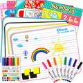 Dry Erase Board, 4 Pieces Small Dry Erase White Boards 9 x 12 Inch with 16 Pieces Dry Erase Markers and 6 Pieces Educational Posters, 4 Pieces Board Eraser, Double Sided Dry Erase Lapboard with Lines
