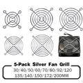 5 pièces de fil métallique argenté et protège-doigts PC, pour protection de grille de ventilateur DC