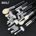 BEILI – ensemble de pinceaux de maquillage noirs, 25 pièces, poils de chèvre synthétiques, poudre de