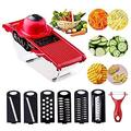 Vegetable Chopper Slicer Veggie Chopper Slicer Cutter Grater with Food Container 6 Blades for Fries Carrots Kitchenaid Tomatoes Onion Potatoes Salad Bowls Kitchen