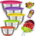 BIIB Mixing Bowls - BIIB 17pcs Mixing Bowls Set - Size 5, 4 ,3, 2, 1QT Stainless Steel Nesting Colorful Mixing Bowls with Airtight Lids Great for Mixing, Baking, Serving
