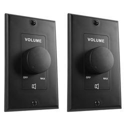 2) Rockville VOL70100 Black 100 Watt 70v Wall Volume Control Zone Controllers