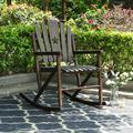 MF Studio Outdoor Rocking Chair Patio Acacia Wood Log Slatted Design Chair for Backyard, Garden, Lawn,Living Room-Brown