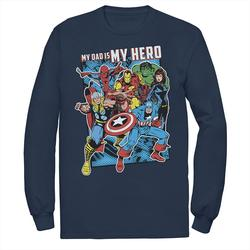 Men's Marvel Heros My Dad My Hero Father's Day Tee, Size: Small, Blue