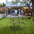 PROKTH Artisasset Paint Sun Shape Outdoor Garden Single Iron Art Rocking Chair Black
