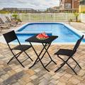 Rattan Outdoor Folding Chair and Table Sets, 3 Piece Outdoor Patio Furniture Sets with Folding Chair&Dining Table, Outdoor Conversation Sets, Patio Dining Set for Backyard Porch Garden, Black, W12259