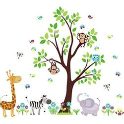 nursery wall decals - jungle and safari themed - baby room decoration - cute animal decals - kids room decals - removable and reusable - baby room dcor - kids room furniture - baby girl
