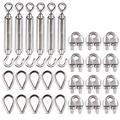 ZGQA-GQA 12 Piece 1/8 Wire Rope clamp (M3), 10 Piece Set of Thimble (M3), Stainless Steel Set, 6 Piece Set Hook and Eye Fastener (M6)