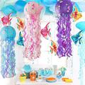 Mermaid Jellyfish Paper Lanterns Kit with LED Lights,3 Set Colors Mermaid Wishes Lanterns with Bright Strip&Mermaid Stickers,Lighted Up Mermaid Lantern for Girl,Baby Room,Undersea Event Birthday Party