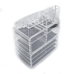 """Bathroom Organizer on Countertop with 3 Tier Drawers and 4 Small Drawers, 9.5''x6''x11.6"""" Plastic Bathroom Organizer with 16 Grid Stackable Cosmetic, Storage Cube Organizer Case Display, Clear, S5479"""