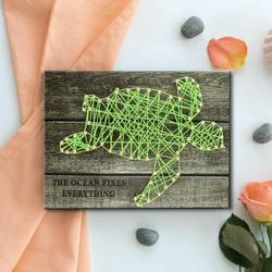 Tebru Nail String Art Kit , 3D Drawing,Sea Turtle Pattern DIY Nail String Art Kit 3D Drawing Nails Winding Lines Painting Home Decor