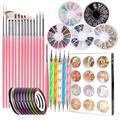 TINGOR Nail Art supplies Nail Art Tools Set with 15 Pieces Nail Painting Brushes 5 Pcs Art Dotting Pen 10Pcs Nail Art Striping Tape Art Rhinestones Jewelry Decoration