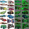 Ooopsiun Luminous Race Car Supplies Temporary Tattoos for Boys -12 Sheets Glow in The Dark RaceCar Tattoos Decorations Supplies Favors for Kids Boys Men