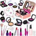 RACPNEL 24 PCS Kids Pretend Makeup Kit for Little Girls, Pretend Play Toy Makeup Set for Toddler Girls with Cosmetic Case & Kids Mermaid Jewelry Set, Gift for Kids Girls Age 2 3 4 5+ ( No Real Makeup)