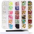 WOKOTO 4 Boxes Colorful Nail Rhinestones Flat Back Square Metal Nail Art Studs Mix-Color Rivet Nail Jewelry Decorations With 1Pc Tweezers And Picker Pencil kit4