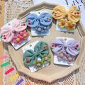 ZDMATHE CX-Children's Embroidered Cherry Bow Hairpin Sweet Fabric Flower Hair Tie Cute Princess Hairpin Hairpin 3-Piece Set