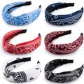 6 Pieces Top Knot Headband Paisley Boho Headbands Vintage Cross Knotted Headbands Twisted Knot Head Band Wide Hairband for Women and Girls