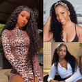 "Beaufox Water Wave Headband Wigs for Black Women Brazilian Virgin Hair Wet and Wavy None Lace Front Wigs Glueless Machine Made Wigs Human Hair Curly Wave Headband Wigs Scarf Wigs (18"" Natural Col"