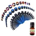 BodyJ4You 50PC Gauges Kit Ear Stretch Aftercare Jojoba Oil Wax 14G-12MM Black Blue Multicolor Tunnel Plug Taper
