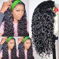 WENYU Headband Wigs For Black Women Human Hair Curly Water Wave Headband Wig Human Hair Curly None Lace Front Wigs Machine Made Wigs Briazilian Virgin Hair Wigs Natural Black (14 Inch, Wig W