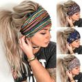 Headbands for Women, Wide Boho Headbands Elastic Bandana Non-Slip Sweat Fashion Headwraps Hair Bands Headwear Fit All Head Sizes for Yoga, Workout, Sports, Running 4Pcs (Set 1)