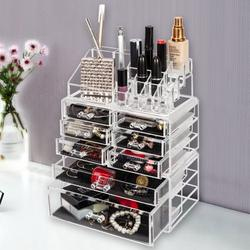 """Bathroom Organizer on Countertop with 2 Tier Drawers and 6 Small Drawers, 9.5''x6''x11.6"""" Plastic Bathroom Organizer with 16 Grid Stackable Cosmetic, Storage Cube Organizer Case Display, Clear, S5459"""