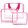 3Pcs Cosmetic Makeup Bags Set Waterproof Clear PVC with Zipper Handle Portable Travel Luggage Pouch