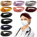 Cribun 6Pcs Headbands with Buttons for Face Mask,Knot Headband Twist Headbands,Headband Gifts for Women and Nurse Doctor