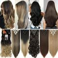 Benehair Clip In Hair Extensions Full Head Long Thick 8 Pieces Hair 18 Clips Curly Wavy Straight Hairpieces 100% Real Natural as Human Best Hair Set 24'' Curly Dark Brown To Dark Red