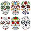 Leoars Day of Dead Face Tattoos, 6-Sheet Sugar Skull Face Tattoos Temporary Stickers Fake Floral Black Spider Web Full Face Mask Tattoo for Women Adult Holloween Face Makeup