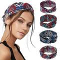 Boho Headband Yoga Print Headands Soft Head Wrap 4pcs Elastic Sports Wicking Headwear Running Head Band for Women and Girls